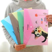 Портативный милый кот животный узор пластик A4 бумажный файловый пакет прозрачный файл папка ПВХ файл карман