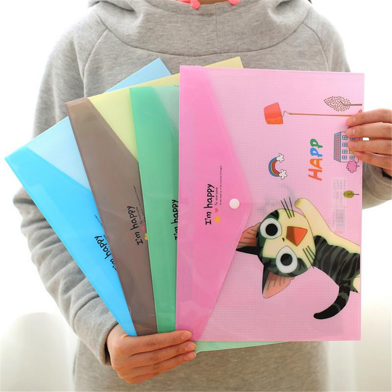 Portable Cute Cat Animal Pattern Plastic A4 Paper File Bag Transparent File Folder PVC File Pocket