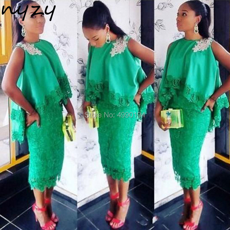 NYZY C70 High Low Cloak Africa Robe Cocktail Dresses Green Lace Formal Dress Wedding Party Dress Vestido Coctel 2019