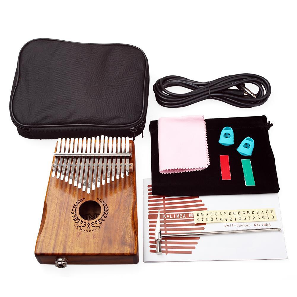 Muspor 17 touches pouce Piano EQ kalimba Mbria Acacia bois lien haut-parleur micro électrique avec sac câble accordeur marteau pour débutant