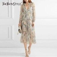 TWOTWINSTYLE Vintage Print Long Dress High Waist V Neck Long Sleeve Ruffle Asymmetrical Women's Dresses Fashion 2019 Spring