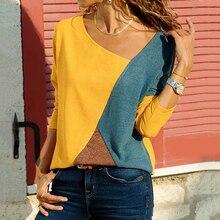 3cc8d3f7451 Patchwork Women Blouse Shirt 2019 Streetwear Blouses Female Long Sleeve  Plus Size Tunic Shirt Cowl Neck