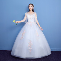 New Arrival Tulle Wedding Dress 2019 New Design O neck Pink Lace Appliques Ball Gown O neck Lorie Wedding Occasion Party Gowns
