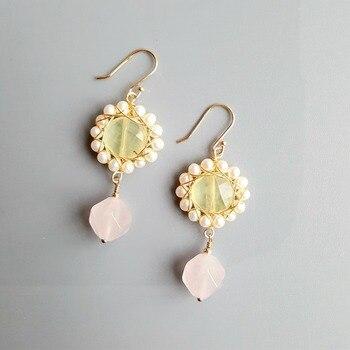 LiiJi Natural Prehnite Rose Quartz Freshwater Pearl Earrings 925 Sterling Silver Handmade Drop Earrings Delicate Jewelry фото