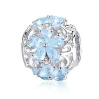 925 Sterling Silver Elegant Snowflake Beads Light Blue CZ Charms fit Charm Bracelets DIY Jewelry SCC941 BAMOER