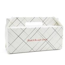 20 Pcs Paper Box With Handle Roll Cake Kraft Gift Packaging Wedding Birthday Party Cardborad Geometric Lines
