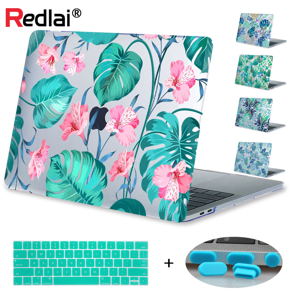 Redlai Plant Flower Print Case For Macbook Air Pro Retina 11 12 13 15 Laptop Case For Mac book Pro 13 15 with Touch Bar A1706 поло print bar flower hawaii