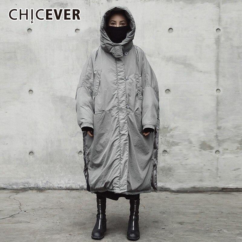 Kadın Giyim'ten Parkalar'de CHICEVER kadın Kış Ceket Kadın Ceket Kapşonlu Uzun Kollu Etek Bölünmüş Gri Kadın Moda günlük kıyafetler Yeni'da  Grup 2