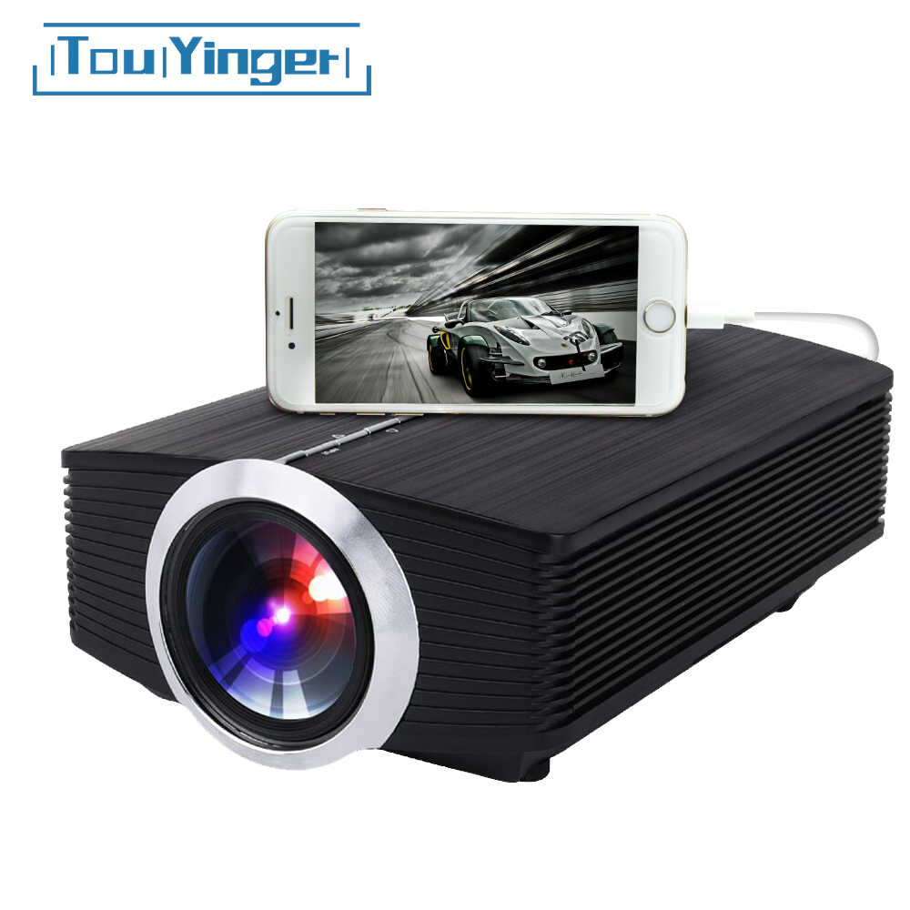 Mini proyector de espejo con cable Touyinger T2A LED para iPhone Android Teléfono Móvil Inteligente YG510 Full HD Video portátil Home Theater
