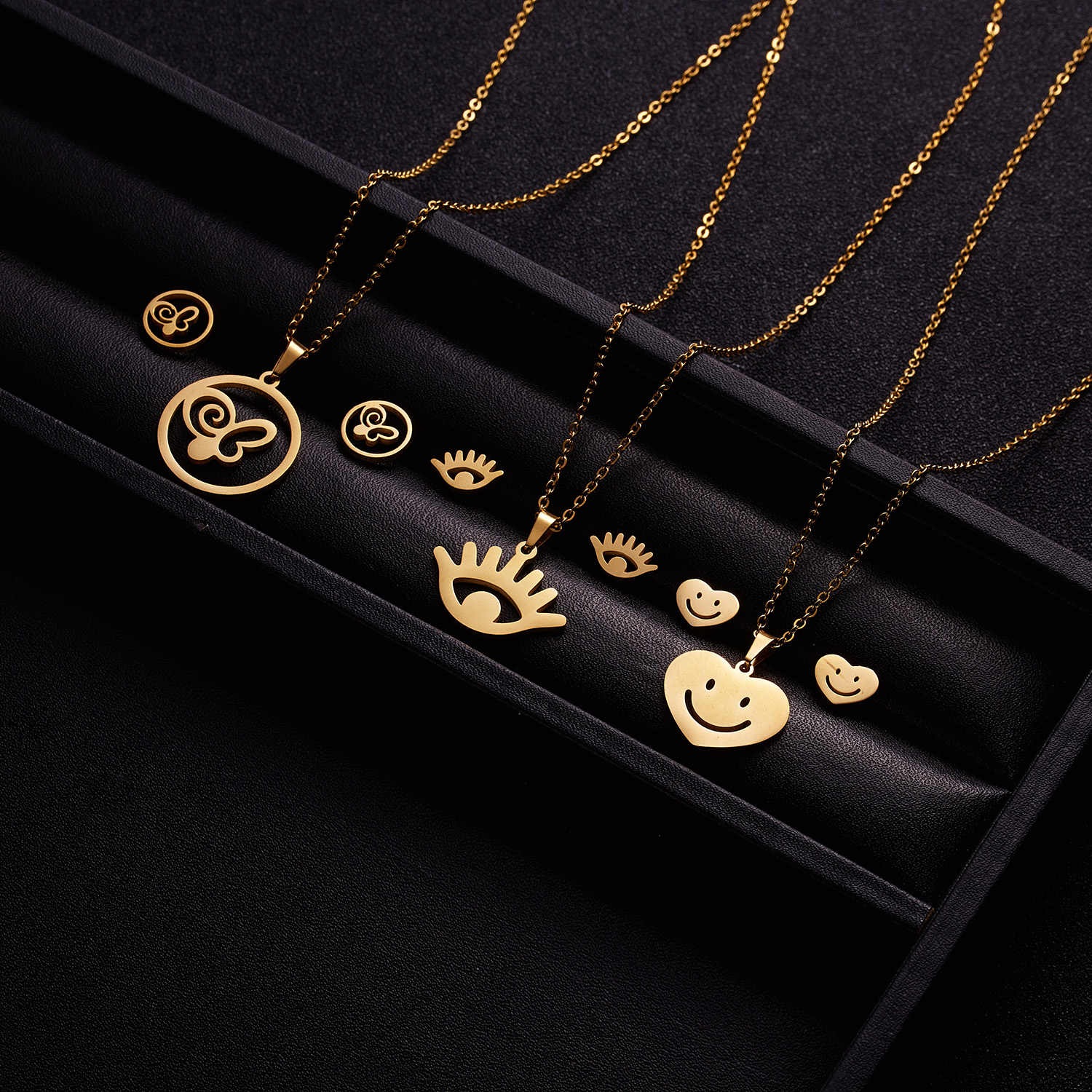 Rinhoo Rose Gold Color Necklace Earring Bracelet Ring Set Rhinestone New Simple Party Dress Jewelry Sets For Women Devil eye