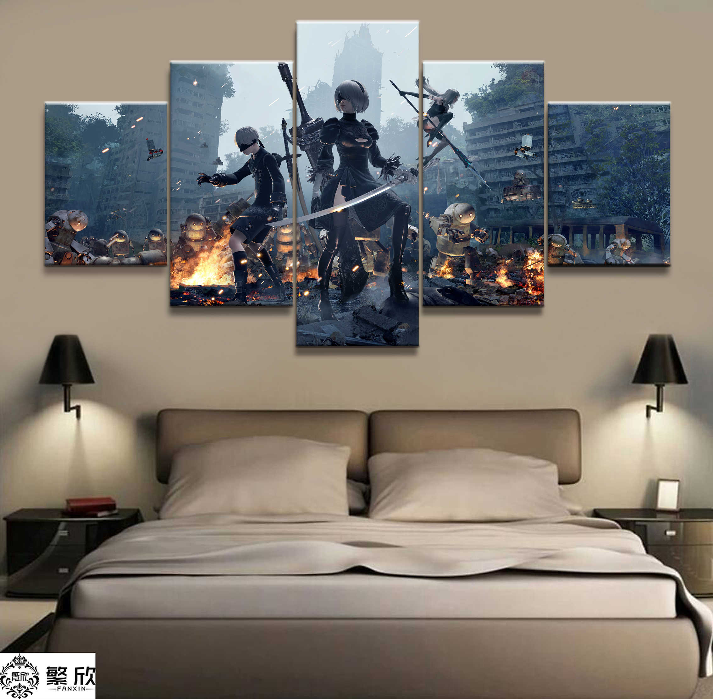 5 Panel NieR:Automata 2B Game Canvas Printed Painting For Living Room Wall Art Home Decor HD Picture Artworks Modern Poster