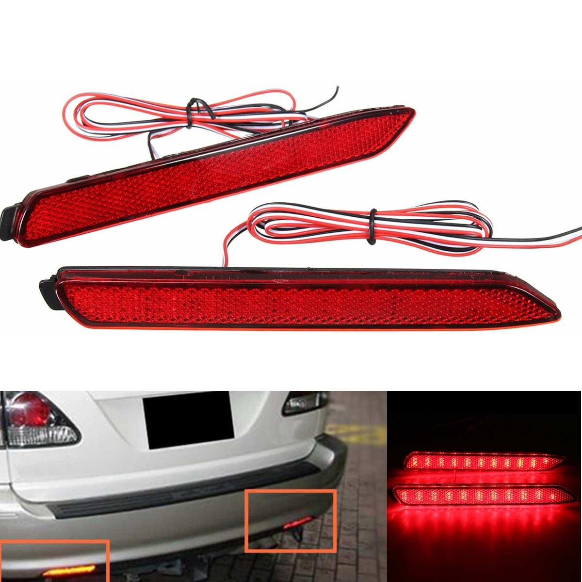UM Par de Cauda Traseira Do Carro Bumper Luzes LED Para Lexus IS-F GX470 RX300 LEVOU Choques Refletor Traseiro Luzes de Freio OEM estilo Lente Vermelha