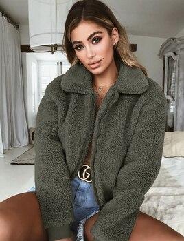 Ladies Warm Outerwear Zipper Solid Loose Coat Women Casual Winter Fluffy Long Sleeve Jacket