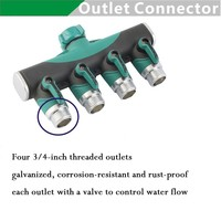 3/4 Hose Splitters Irrigation Adapter 4 ways Gardening Irrigation Water Tap Hose Connectors Agricultural Watering Accessories