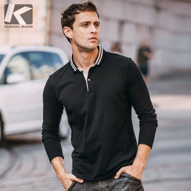 e59f72823 Autumn Men Polo Shirt Cotton Print Black Blue White For Man Fashion Long  Sleeve Slim Fit Clothing 2018 New Male Wear Tops 240
