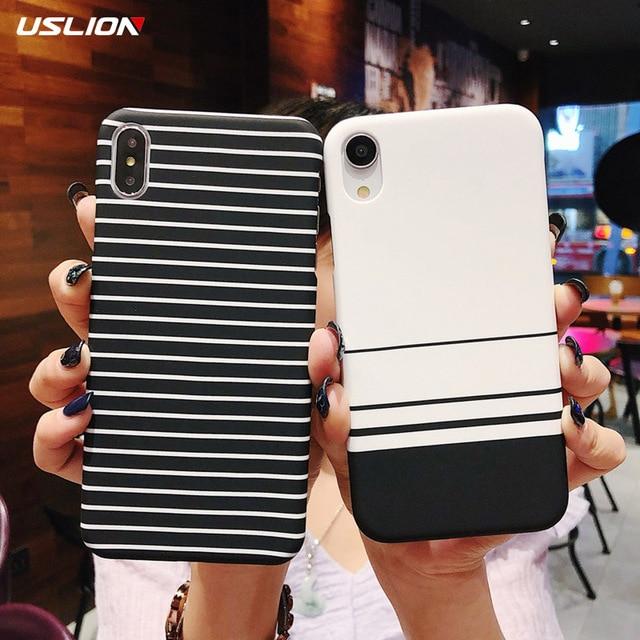 USLION простая сетка в полоску чехол для iPhone X 8 7 Plus XR XS Max тонкая задняя крышка для iPhone 6 6 S Plus Жесткий пластиковый Чехол