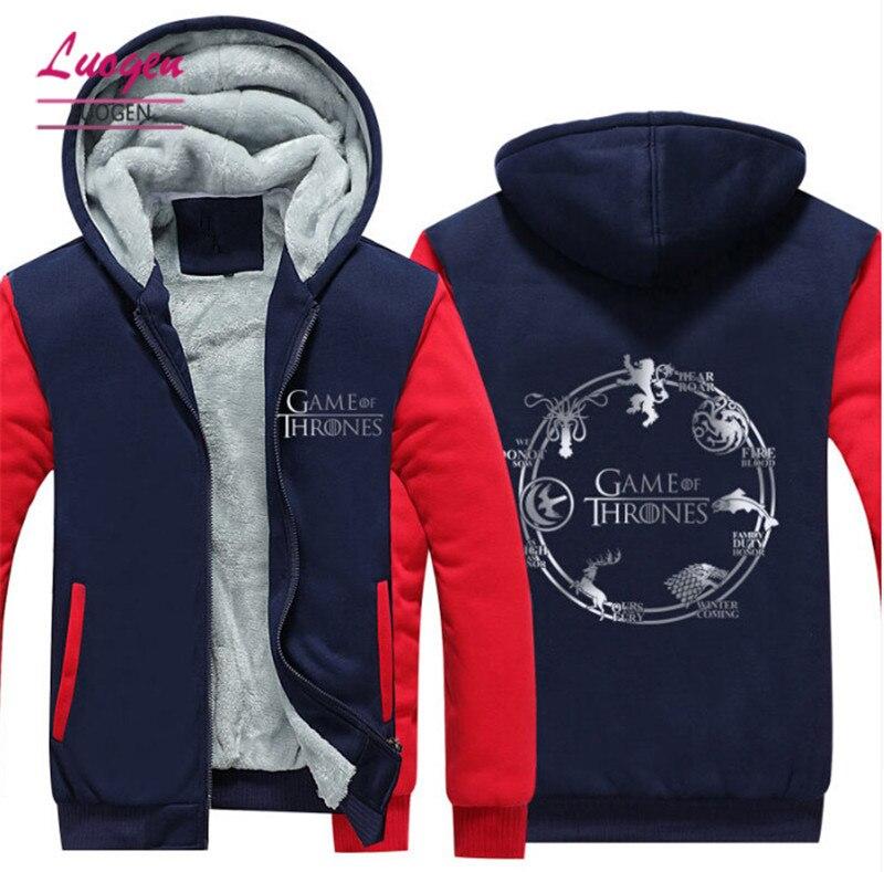 2017 New Game of Thrones Hoodies For Men/Women Thicken Fleece Zip-up Casua Jackets Women Streetwear Hooded Sweatshirts Tops