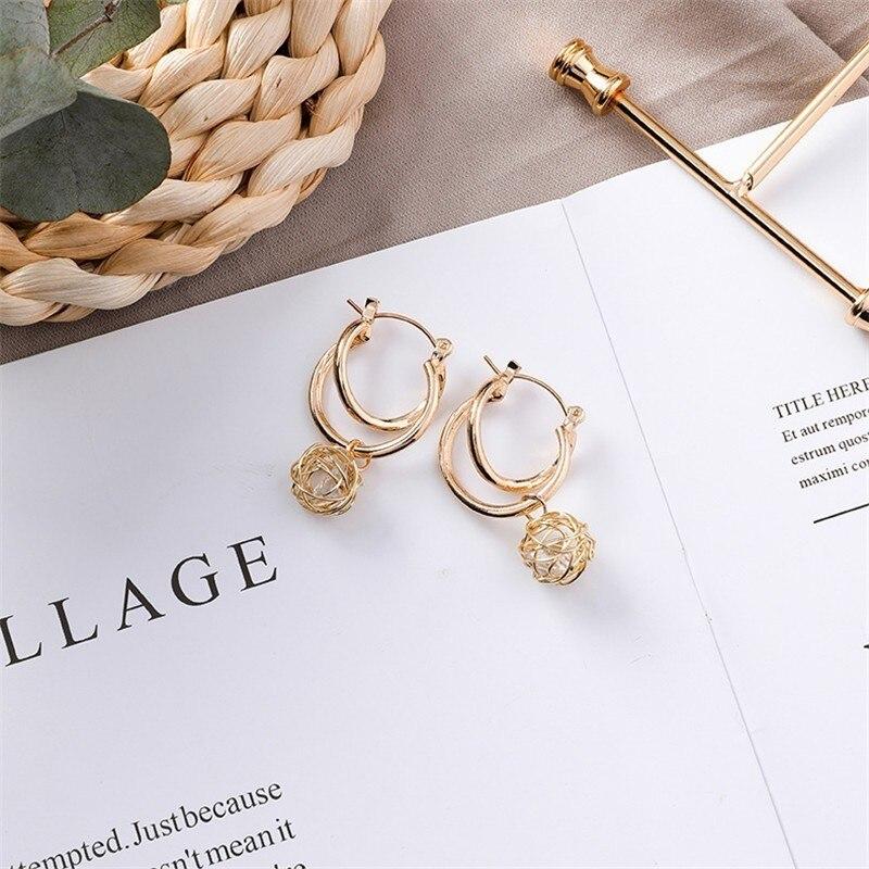 Fashion statement earrings 2019 ball Geometric round earrings For Women Hanging Dangle Earrings Drop Earing modern Jewelry in Drop Earrings from Jewelry Accessories