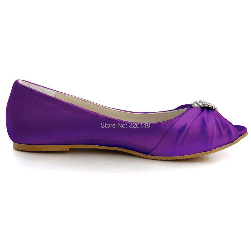 2cab0bb658b3 Woman Shoes Wedding Bridal Flats Size 11 Comfort Peep Toe Crystal Satin  Lady Prom Dress Bride Ballerina Ballet Purple EP2053-in Women s Flats from  Shoes on ...