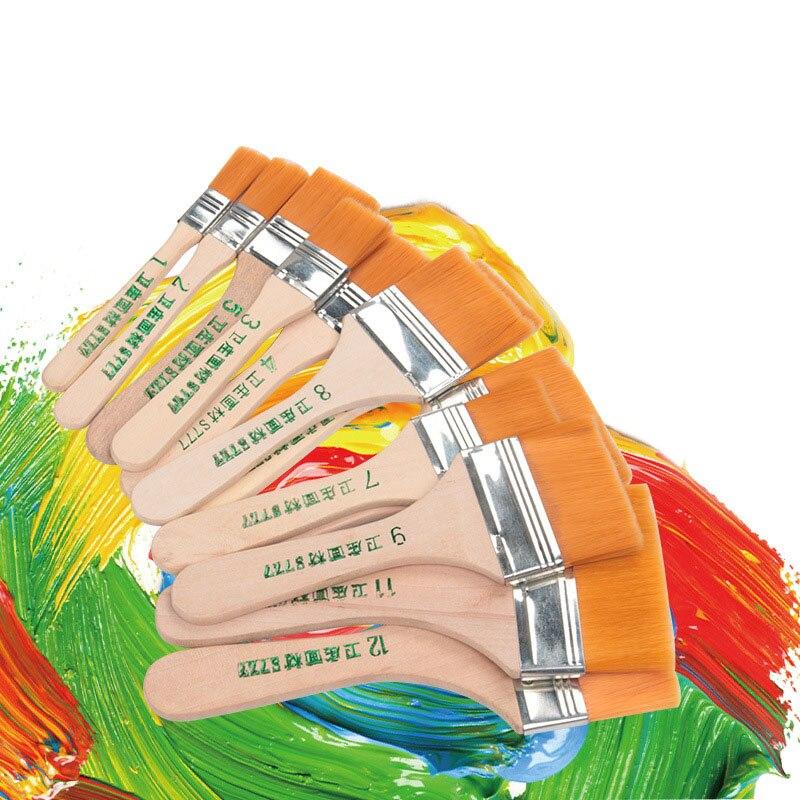 Высококачественная нейлоновая кисть для рисования различных размеров, акварельные кисти с деревянной ручкой для акриловой масляной краски, школьные принадлежности для искусства 2