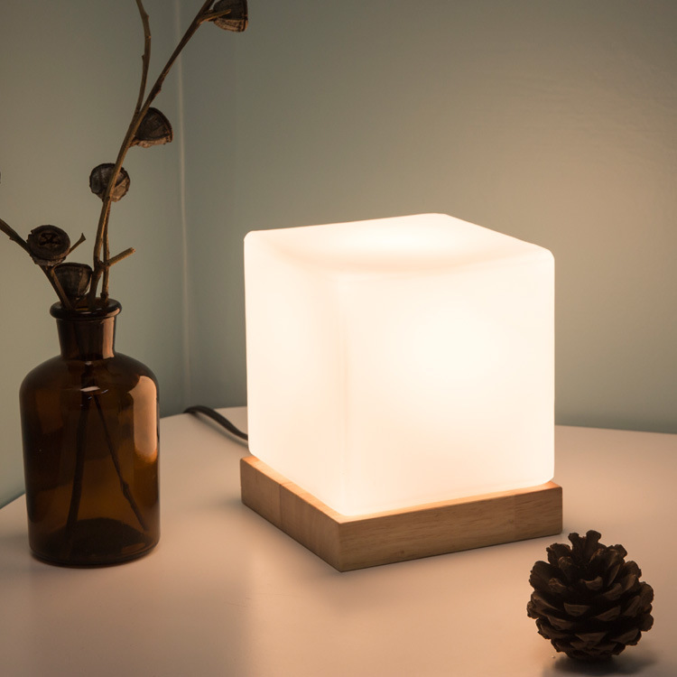 Fund LED Desk Lamp Bedside Desk Lamp E26&E27 Square Glass Ice Block Desk Lamp Night Rise Artifact Originality Small Night light