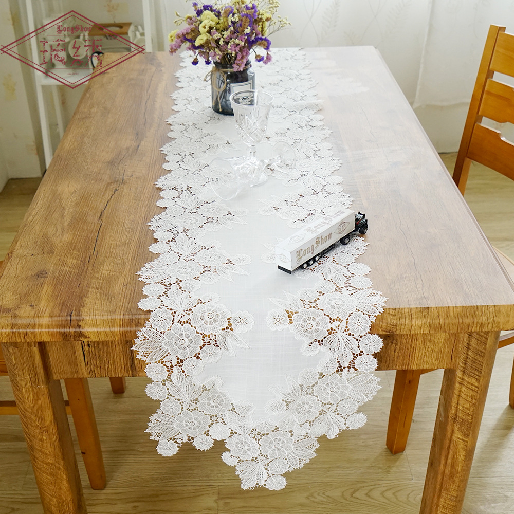 White Lace Bamboo Cloth Table Flag Cover Towel Coffee Table TV Cabinet Home Decorative Tablecloth Dust Cover Fabric Table Runner