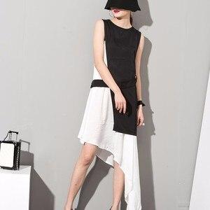 Image 2 - EAM robe assise, sans manches, asymétrique, 2 pièces, élégante, nouvelle couleur noire, blanche, col rond, printemps été, 2020
