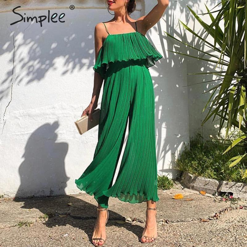 Simplee Sexy spaghetti strap women   jumpsuit   Elegant ruffled high waist female   jumpsuit   romper Casual wide-leg ladies overalls