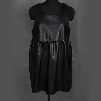 Nerazzurri overalls dress for women 2019 black pleated pu leather suspender dress plus size dresses for women 4xl 5xl 6xl 7xl 1