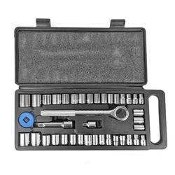 40 pces mecânica chave de soquete conjunto manga spanner extensão barra métrica kit de ferramentas combinação britânica