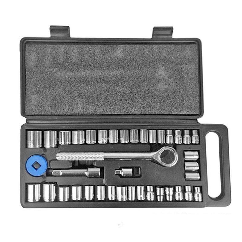 40pcs Mechanics Socket Wrench Set Sleeve Spanner Extension Bar Metric British Combination Tool Kit