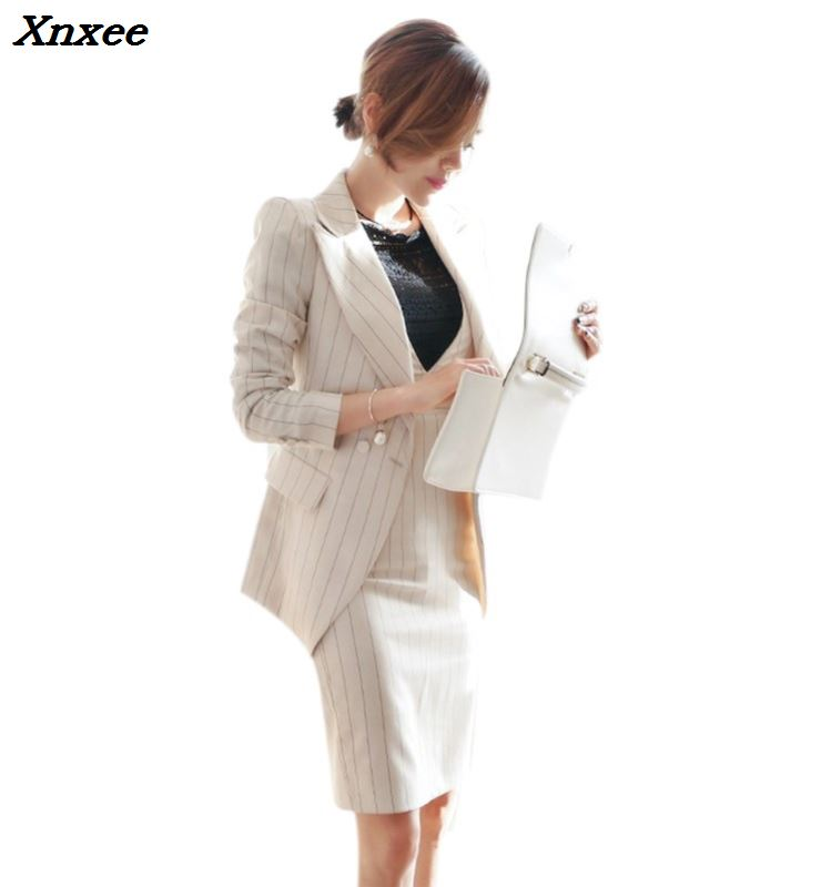 Office lady dress suits women blazer jacket fashion sheath dresses two pieces set business suits work