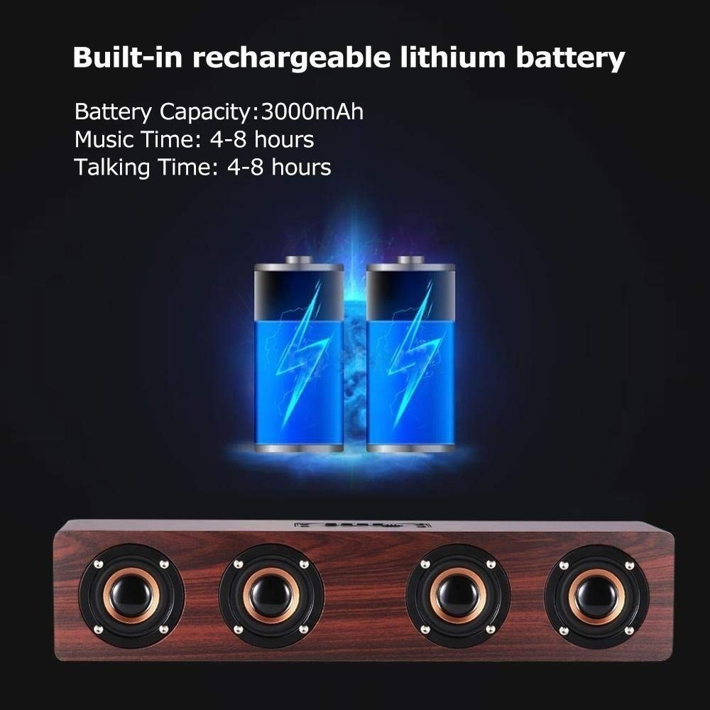 Image 5 - Wireless Bluetooth Speaker 12W Portable Subwoofer Wooden Home Audio Support TF FM Column Speakers For Outdoor PC Phones-in Portable Speakers from Consumer Electronics