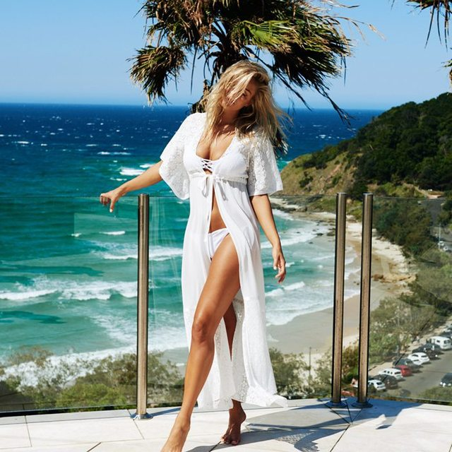 db553555fc 2019 Summer New Women Chiffon Beach Dress Pareo Bandage Cardigan Shirt Bikini  Cover Up Swimwear See