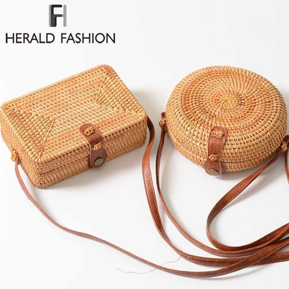 Herald Fashion Wanita Musim Panas Tas Rotan Bulat Jerami Bagshandmade  Anyaman Pantai Cross Tubuh Casing Lingkaran f381b92633