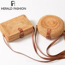 Herald модные женские туфли летние плетеная Сумка из ротанга круглый соломы BagsHandmade Тканые Пляжная сумка через плечо круг Богемская Сумочка Бали коробка