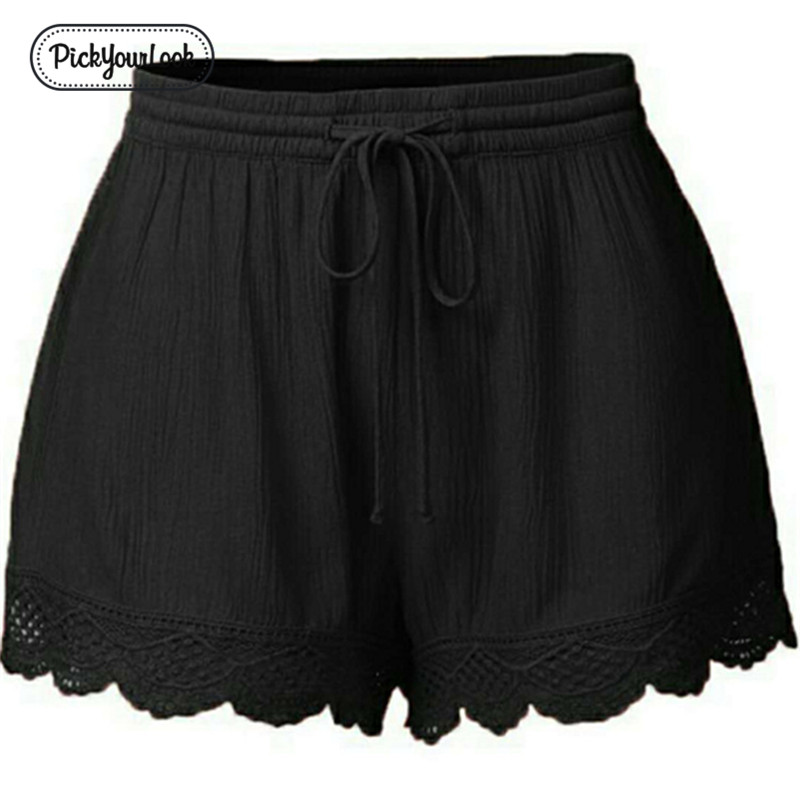 Pickyourlook Lace Drawstring   Shorts   Women Casual Solid Lady   Shorts   Trouser Large Size High Elastic Waist Plus Size Female   Shorts