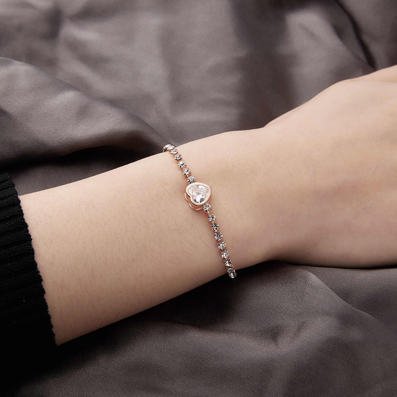 RINHOO, nueva pulsera redonda de tenis para mujer, pulseras y brazaletes de Zirconia cúbica de Color rosa dorado y plateado, joyería de boda para mujer