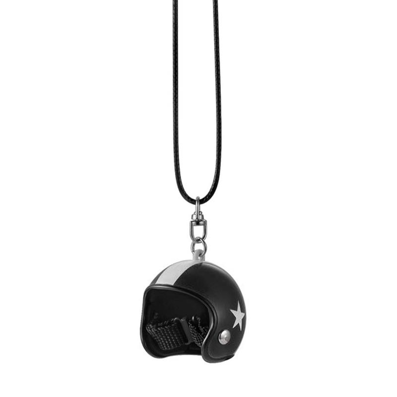 Fashion Cute Moto Helmet Styling Car Pendant Car Rearview Mirror Ornaments Hanging Auto Car Interior Decoration Accessories