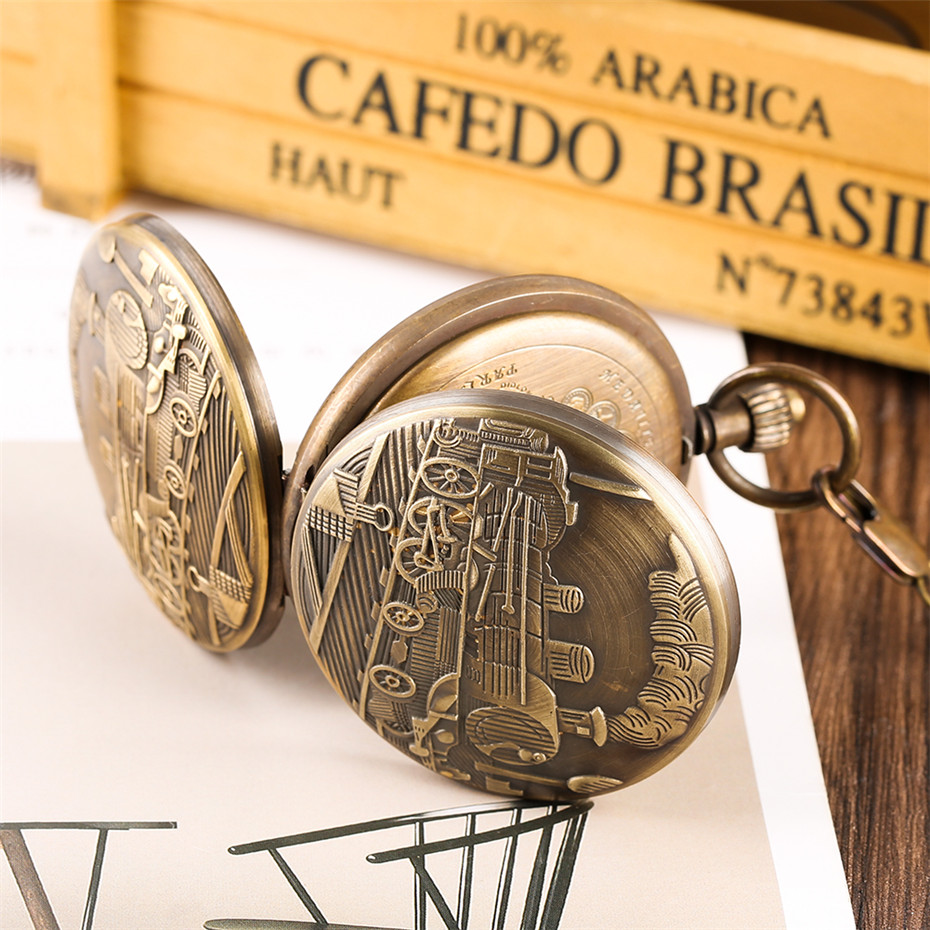 Купить с кэшбэком Antique Train Pure Copper Pocket Watch Tourbillon Mechanical Clock Gifts for Men Women Roman Numbers Luxury Pocket Pendant Watch