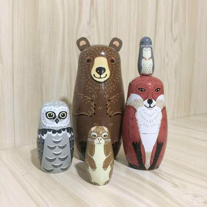 5pcs/set Animal Bear Ear Nesting Handmade Wooden Russian Matryoshka Dolls 2019 Creative Home Decoration Toys Baby Handicraft