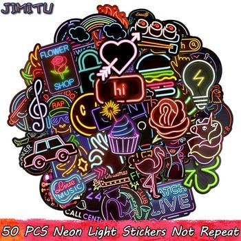 50 PCS Neon Light Sticker Anime Icons For Laptop Fridge Etc.