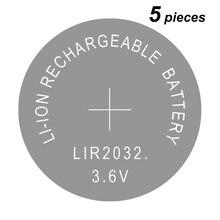 5 шт., литий ионные перезаряжаемые батарейки, 2032, 3,6 В
