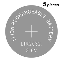 Button Cells Li ion Rechargeable Battery LIR2032 Replaces CR2032, Lithium Coin Cell Batteries 2032 3.6V 5 Pieces