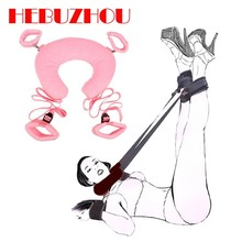 HEBUZHOU Soft Nylon BDSM Handcuffs Footcuffs Bondage With Plush Pillow For Adult Game Separating Legs Bondage For Women Sex Toys