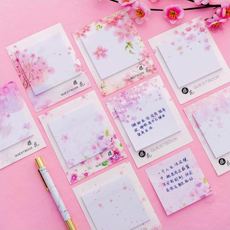 Colored Fresh Cherry Series Sticky Notes Post Sticker Scrapbook Diary Planner Memo Pads Office Stationery School Supplies 1PCS