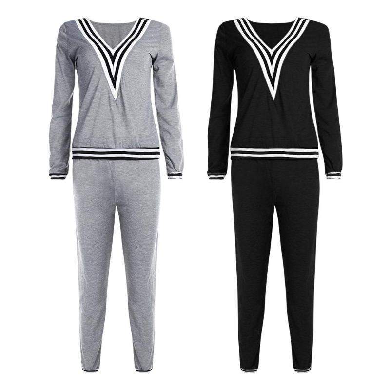 2pcs Women Sportwear Suit Set Tracksuit Black Long Sleeve V Neck Top Pants