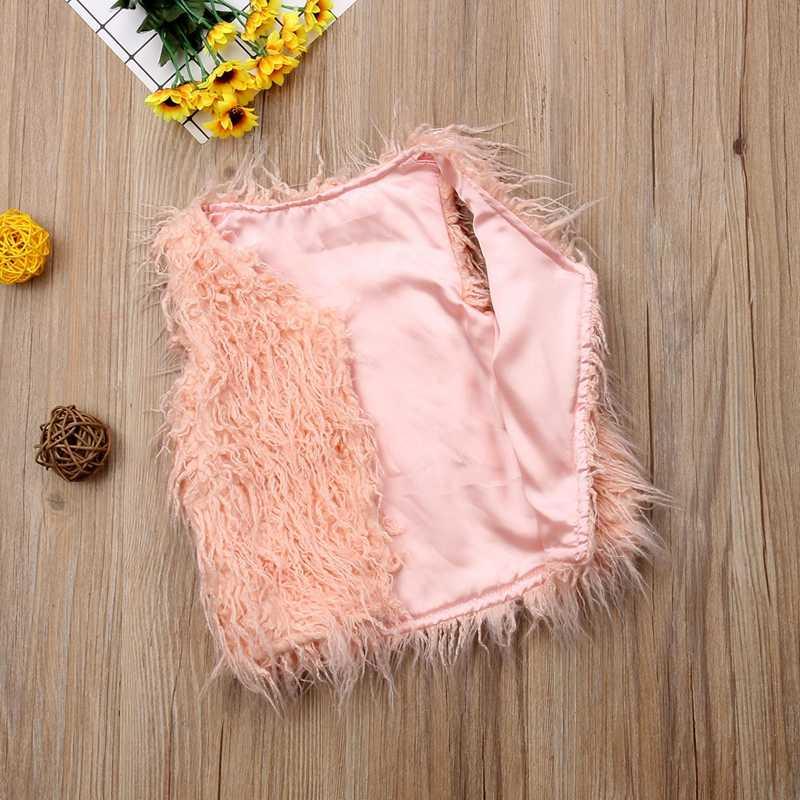 Criança Crianças Bebê Menina Rosa Encabeça Colete Casaco Outerwear Jaqueta de Inverno de Espessura da Pele Do Falso Colete Idade 1-6 Ano