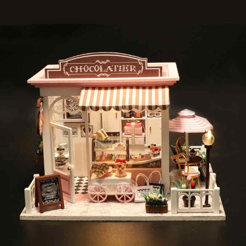 수제 인형 집 가구 miniatura diy 모델 나무 미니어처 인형 집 가구 빌딩 블록 어린이를위한 선물 완구