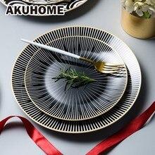 Round Strip Ceramic Dinner Plate 6 Inch 8 10  Dish Dessert Snack Decoration Tableware Set